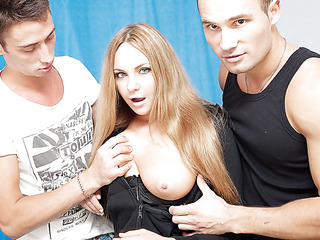 3 oversexed guys were bored as hell and wanted to fuck, so one of 'em went out to find some chick. What a surprise, a cute neighbor of his was walking in the park, and that honey assented to have a cup of tea with him! Looks like this hawt blondie will be the star of an non-professional DP video :) At First that honey didn't crave to take part in real hard fuck, but did this honey have any choice? The lascivious guys got her bare in no time and made her do hard unfathomable face hole. Then it was time for real anal fucking, ...