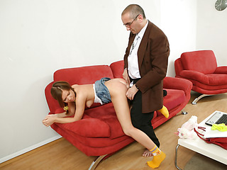 Old wicked teacher fills every single constricted gap of a bad student with his big firm jock.