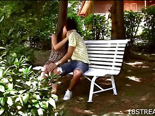 Beautiful guy licks and drills cookie of hottie on a ottoman
