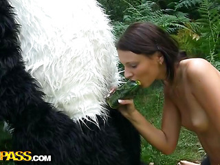 On a sunny summer day a charming artist decided to go to the woods to paint a charming landscape picture. But her plans were ruined when this babe saw a biggest panda bear coming near her. However, this chab turned out to be so cute and playful, the teenage hottie forgot about her painting and even let him take her clothing off. And then this babe saw panda's thong on penis, and there was merely indecent sex on her mind. The girl widen her legs wide, letting the horny bear drill her oozing cum-hole with that awesome megadildo of ...