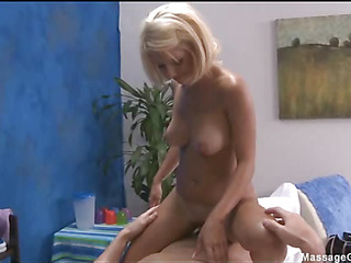 Sexy and sexy blond 18 year old receives screwed hard doggy position by her massage therapist
