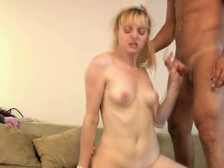 Hawt darling is giving man a moist oral-stimulation in advance of riding it