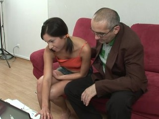 Lustful old teacher is pounding chick's fur pie tenaciously