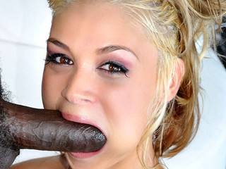 Cute blond is lewd to engulf and fuck a big dark penis