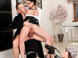 2 journalist vaginas get team-fucked in all holes by Rocco's schlong