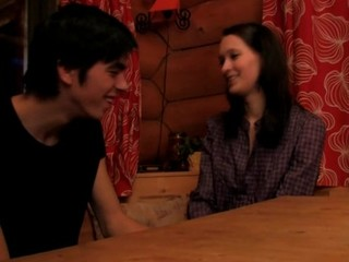 Dark brown Hair strips and enjoys sex on a wooden table