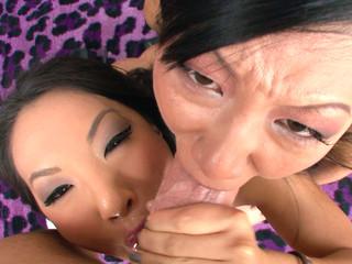 Asa Akira and Tia Ling both drink performer's large ramrod.