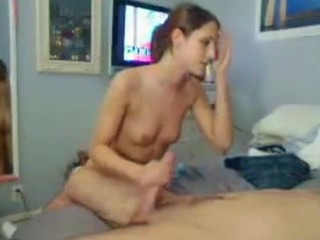 Girlie is performing precious orall-service after being drilled well