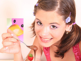 Very petite angel Caprice receives overspread with chocolate and touches her tiny slit