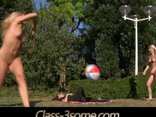 2 joyful blonde teenies plays in the garden but at some point their ball rolls over the laying cock nearby. That moment the real play starts. The juvenile golden-haired teenies ad the horny cock angages in a hardcore fuck