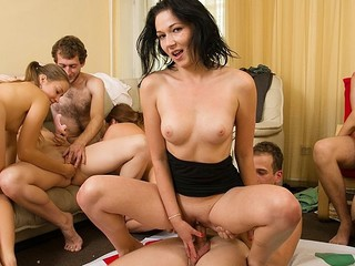 Sexually excited students adore hot celebrations. They strip and plunge into sexual group orgy in hot student sex party movie.